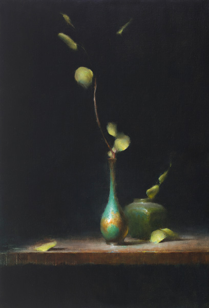 David Riedel, Copper Vase, oil, 17 x 25.