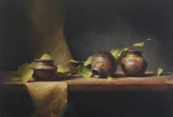 David Riedel, Three Clay Pots, oil, 17 x 25.