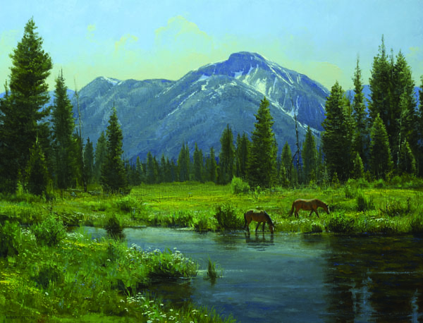 Robert Peters, High Country Eden, oil, 32 x 42.