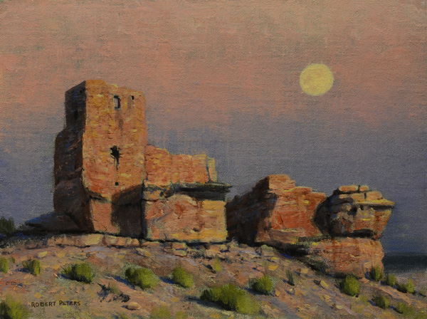 Robert Peters, Sinagua Moon (study), oil, 9 x 12.