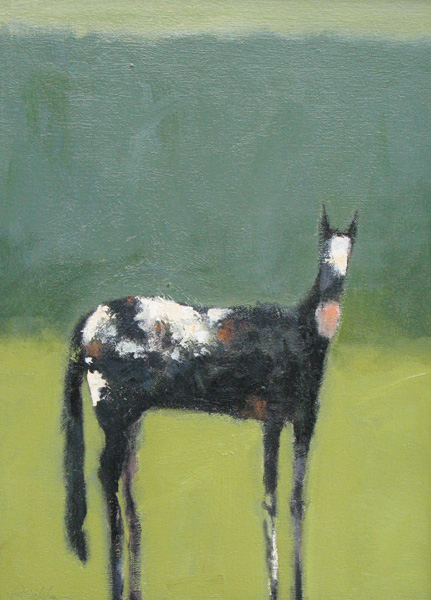 Robert Schlegal, Horse with Green, acrylic, 48 x 36.