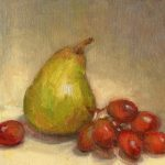 Cecilia Robertson, Pear With Red Grapes, oil, 6 x 8.