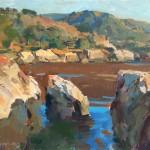 Charles Movalli, Rocks, Big Sur, acrylic, 20 x 24.