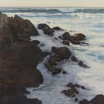 Michelle Jung, Rocks and Foam, oil, 36 x 36.