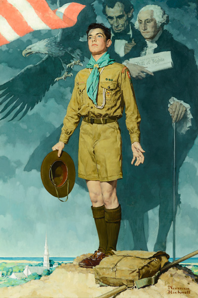 Norman Rockwell, A Scout is Loyal, oil, 39 x 27. Estimate: $4,000,000-$6,000,000.