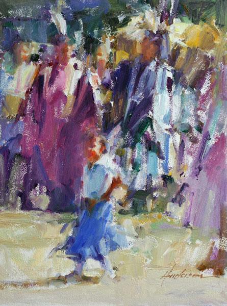 Carolyn Anderson | Rocky Boy Celebration, oil, 12 x 9.