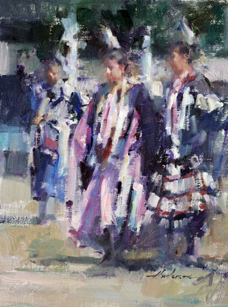 Carolyn Anderson | Rocky Boy Dancers, oil, 14 x 11.