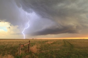 Roger Edwards, Lightning on Cheyenne Ridge, photograph, 8 x 12.