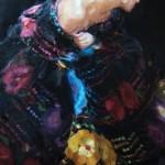 Gladys Roldan-de-Moras, Guadalupe, oil, 36 x 24.