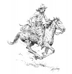 Andy Thomas, Ropin', pen/ink, 8 x 8.
