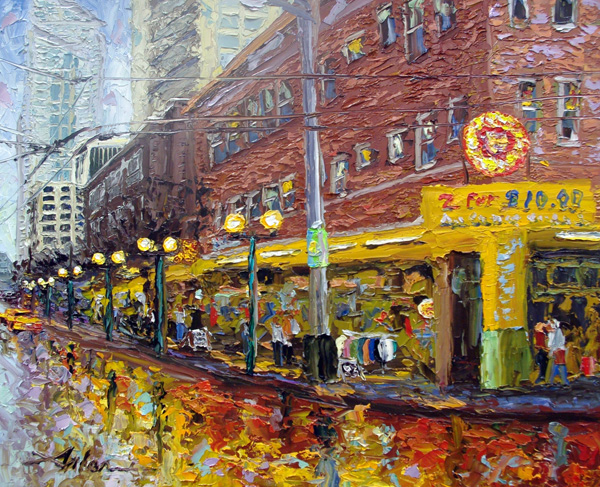 Arlon Rosenoff, First and Pike, oil cityscape painting