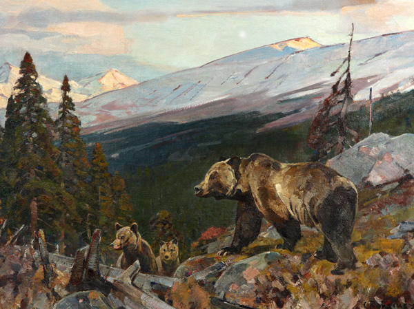Carl Rungius, Grizzly Bear and Cubs, oil painting at the Jackson Hole Art Auction.