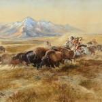 Charles M. Russell, Buffalo Hunt #27, watercolor, 21 x 29. Estimate: $600,000-$900,000.