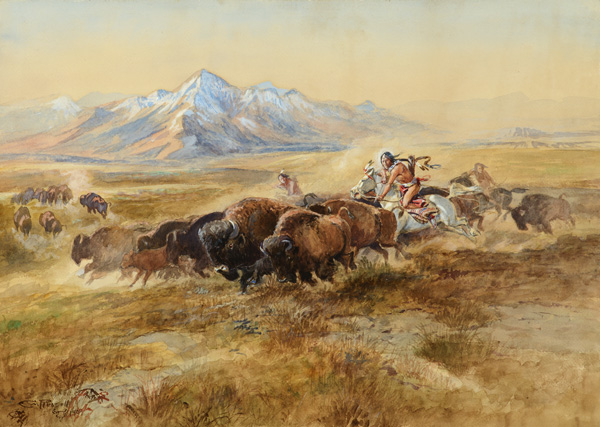 Charles M. Russell, Buffalo Hunt #27, watercolor, 21 x 29. Estimate: $600,000-$900,000.
