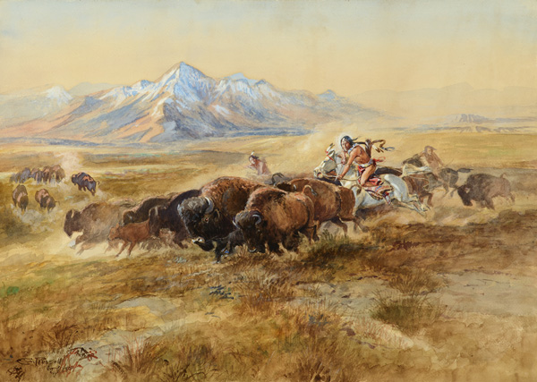 Charles M. Russell, Buffalo Hunt #27, watercolor, 21 x 29, $1,005,000, Coeur D'Alene Art Auction.