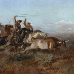 Charles M. Russell, Unbranded, oil painting at the Jackson Hole Art Auction.