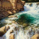 Greg Scheibel, Summer Cascade, oil, 40 x 30.