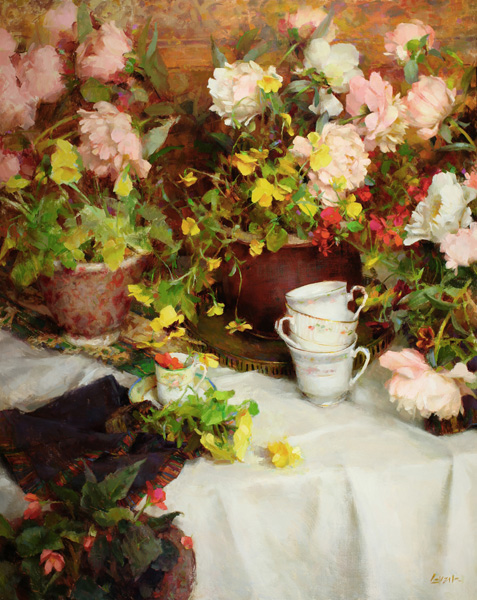 Nancy Guzik, Spring Teacups, oil, 30 x 24.