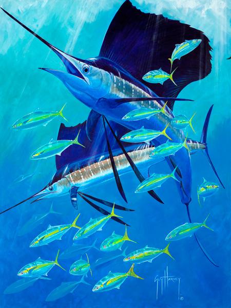 Guy Harvey, Sail Away, acrylic, 40 x 30.