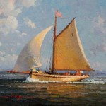 Calvin Liang, Sailing Along, oil, 12 x 16.