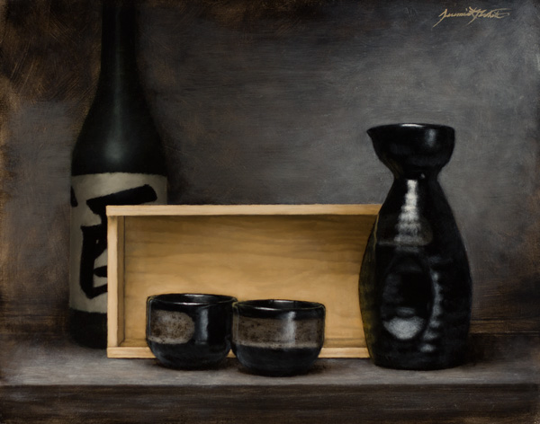 Jeremiah J. White, Sake Time, oil, 11 x 14.