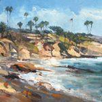 Anthony Salvo, Diver's Cove, Laguna Beach, oil, 12 x 24.
