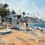 Anthony Salvo, Morning at Main Beach, Laguna Beach, oil, 12 x 16.