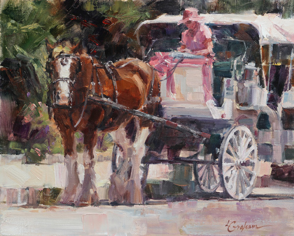 Lindsey Bittner Graham, San Antonio Tour Guide, oil, 8 x 10.