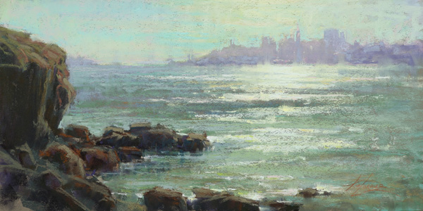 Kim Lordier, San Francisco From Cavallo Point, pastel, 10 x 12.