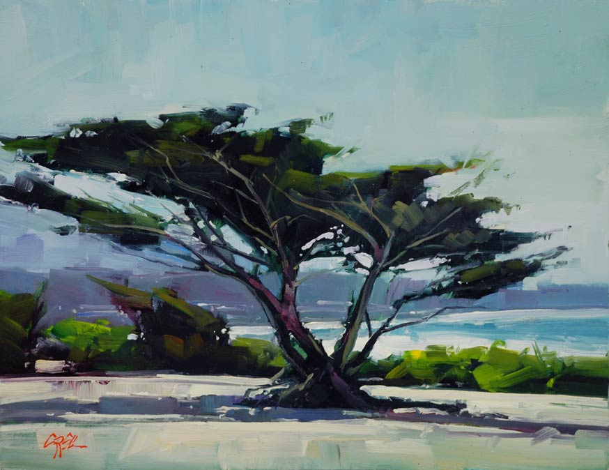 Gregory Stocks | Sand & Cypress, oil, 11 x 14.
