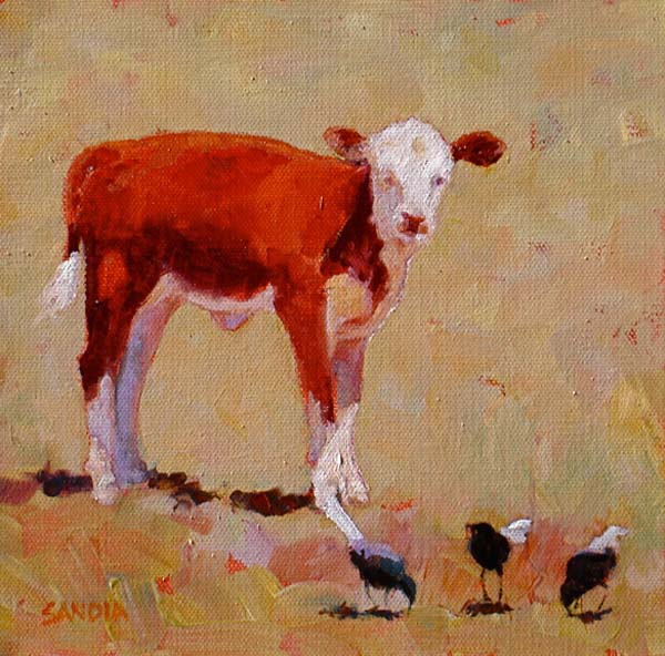 Elizabeth Sandia, Curious Little One, oil, 8 x 8.