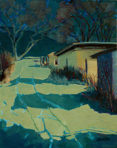 Elizabeth Sandia, Moonlit Way, oil, 10 x 8.