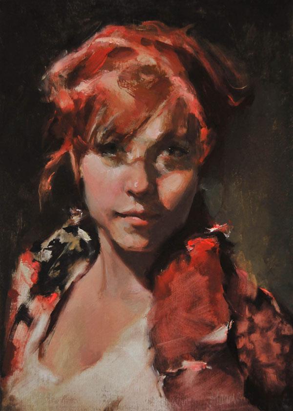 Johanna Harmon, Sanguine, oil, 14 x 10.