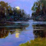 Sara Linda Poly, Moonrise Over Peach Blossom Creek, oil, 12 x 12.