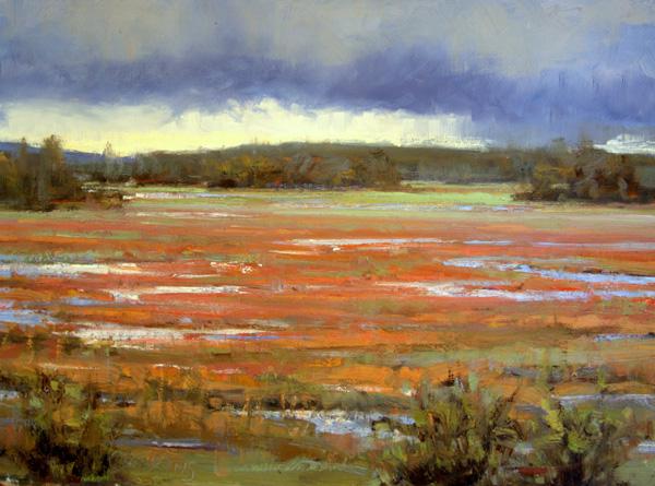 Carol Jenkins, Scarlet Marsh, oil, 12 x 16.