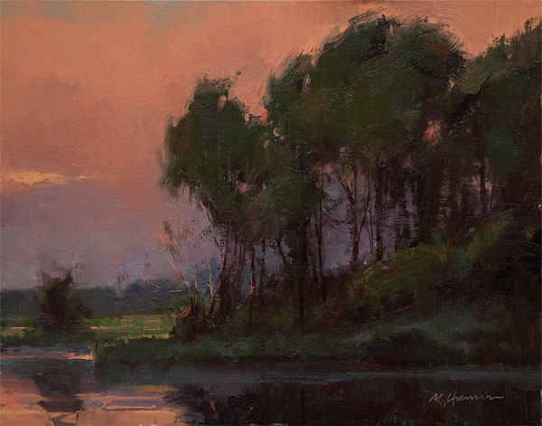 Marc Hanson, Scarlet Skies, oil, 11 x 14.