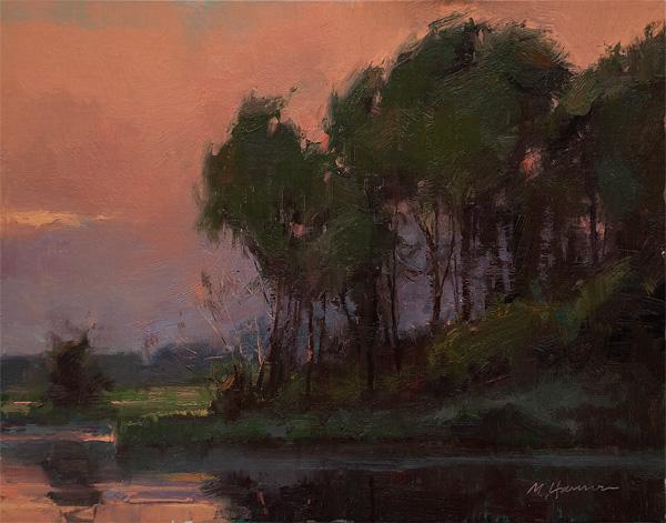 Marc Hanson, Scarlet Skies, oil, 11 x 14.