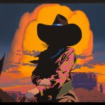 Bill Schenck, Blazing Cowgirls III, oil, 35 x 45.