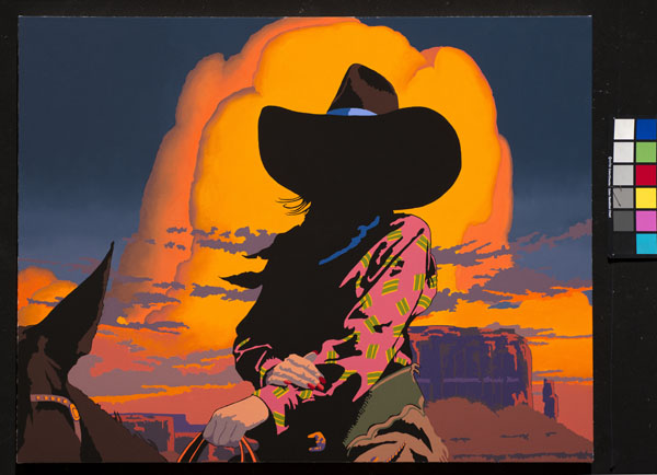 Bill Schenck, Blazing Cowgirls III, oil, 35 x 45.