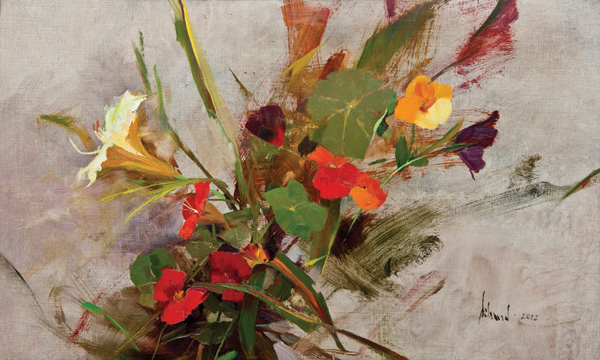 Richard Schmid, Lily and Nasturtiums, oil, 12 x 20.