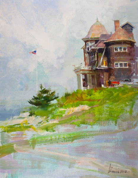 Richard Schmid, The National Academy of Science Overlooking Woods-hole, Cape Cod, MA, oil, 18 x 14.