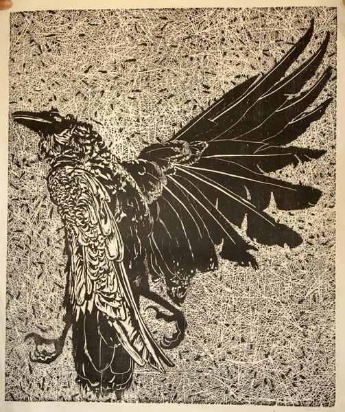 Elmer Schooley, Dead Raven, woodblock print, 24 x 20.