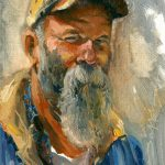 Randy Saffle, Seasick Steve, oil, 7 x 5.