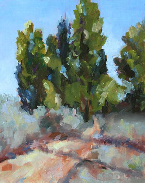 Gaye Sekula, Poplar Ridge, oil, 10 x 8.