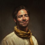 Michael DeVore, Self Portrait in Yellow Scarf, oil, 20 x 24.