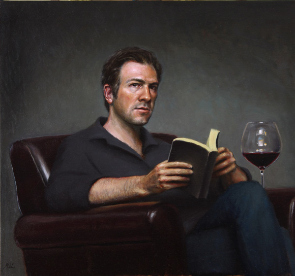 Michael DeVore, Self Portrait with Book, oil, 26 x 28.