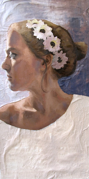 Amanda Raynes, Self Portrait, oil, 24 x 12.