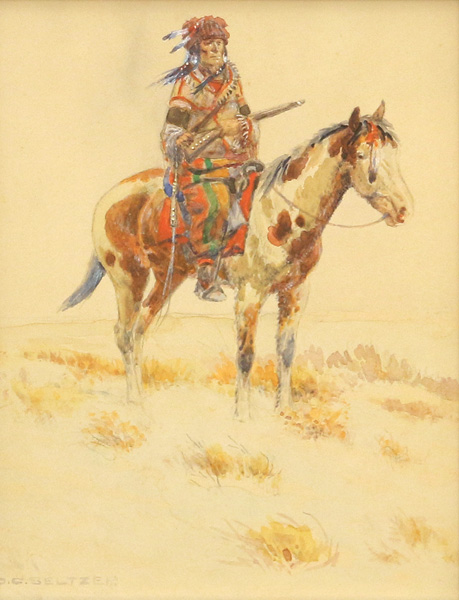 Olaf Carl Seltzer, Blackfoot Scout, watercolor, 8 x 6. Estimated: $6,000-$9,000.