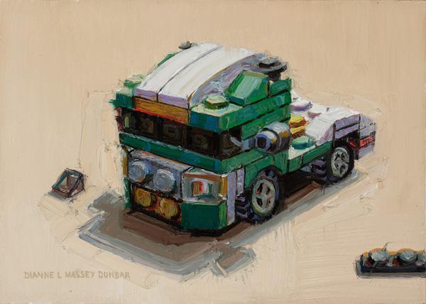 Dianne Massey-Dunbar, Semi Tractor, oil, 5 x 7.