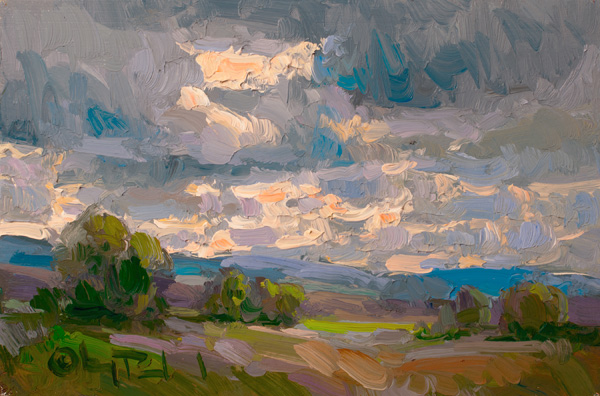 Gregory Packard, Set for Rain, oil, 8 x 12.